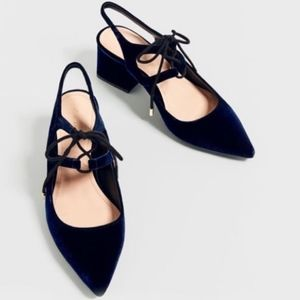 Zara Blue Velvet Tie-Up Slingback Heeled Shoes